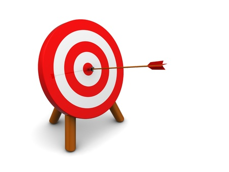 dart board: 3d illustration of archery target hit with arrow, over white background Stock Photo