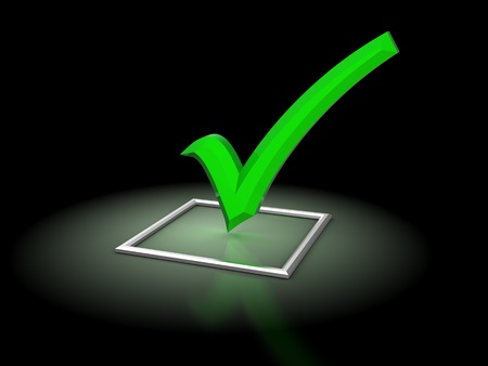 light box: 3d illustration of checkbox with glowing green tick, over black background