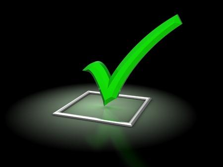 check icon: Ilustraci�n 3D de marca de la casilla con brillante verde, sobre fondo negro