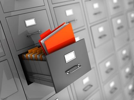 file cabinet: Ilustraci�n 3D de la met�fora de la b�squeda de informaci�n