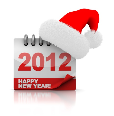 3d illustration of 2012 calendar with christmas hat illustration