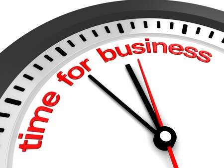 3d illustration of clock with 'time for business' sign Stock Illustration - 11413653