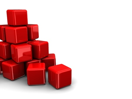 red cube: abstract 3d illustration of red cubes heap Stock Photo