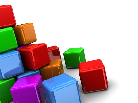 3d illustration of colorful cubes background with copy space illustration