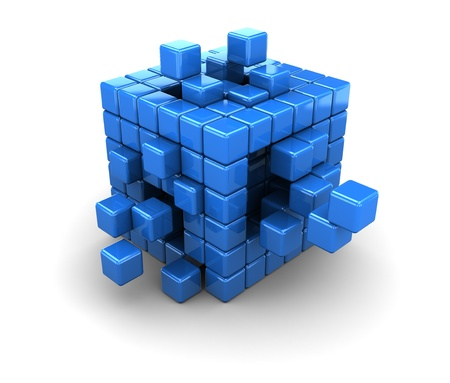 assembling: abstract 3d illustration of blue cubes structure, over white background