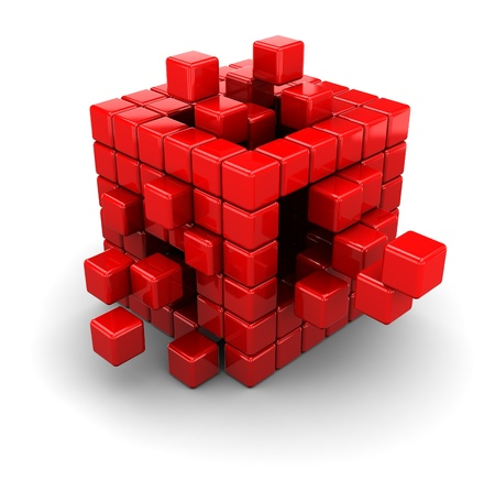 assembling: abstract 3d illustration of red cubes, assembling concept