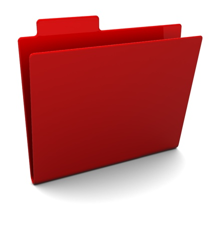 3d illustration of empty red folder over white background illustration