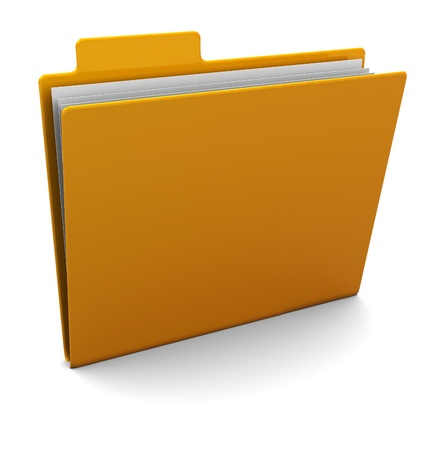 3d illustration of yellow folder with paper illustration