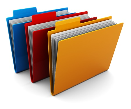3d illustration of three colorful folders over white background illustration