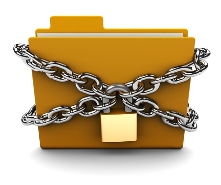 lock and chain: 3d illustration of folder locked with chains