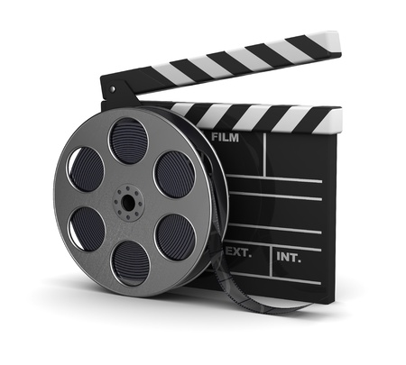 movie camera: 3d illustration of cinema clap and film reel, over white background