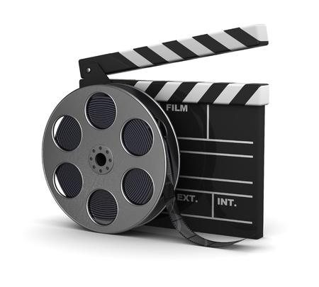 macchina fotografica: 3d illustrazione di cinema applaudire e bobina di film, su sfondo bianco
