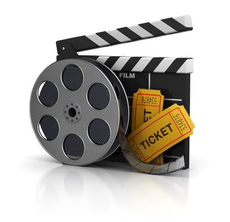 clap: 3d illustration of cinema clap, film reel and tickets, over white background Stock Photo