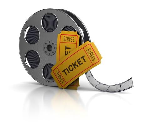 stub: 3d illustration of movie film reel and tickets