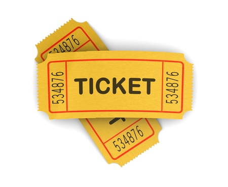 raffle: 3d illustration of two cinema tickets over white background