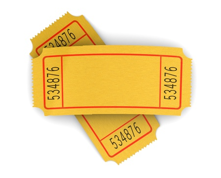 raffle: 3d illustration of two blank cinema tickets, over white background