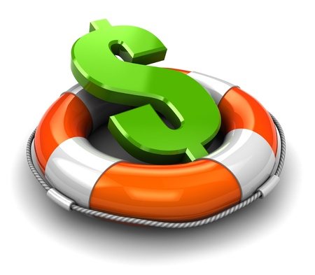 business survival: 3d illustration  of rescue circle with dollar sign inside Stock Photo