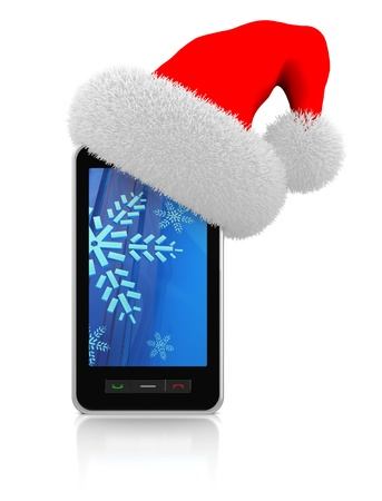 electronic organiser: 3d illustration of modern mobile phonewith christmas hat