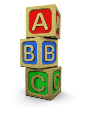 3d illustration of abc wooden blocks, over white background