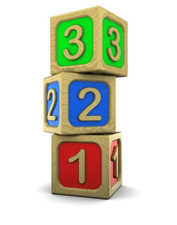 early education: 3d illustration of wooden blocks with numbers