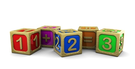 3d illustration of wooden blocks with numbers illustration
