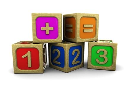 playschool: 3d illustration of wooden numbers blocks