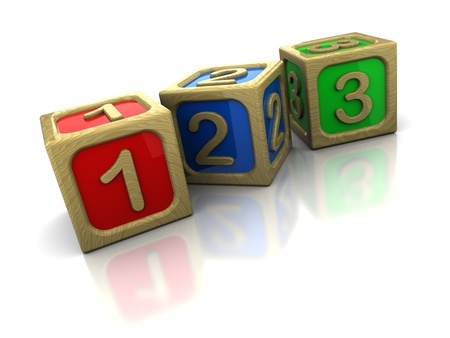 block: 3d illustration of wooden blocks with numbers