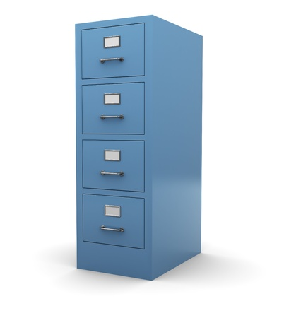archiving: 3d illustration of drawer cabinet over white background
