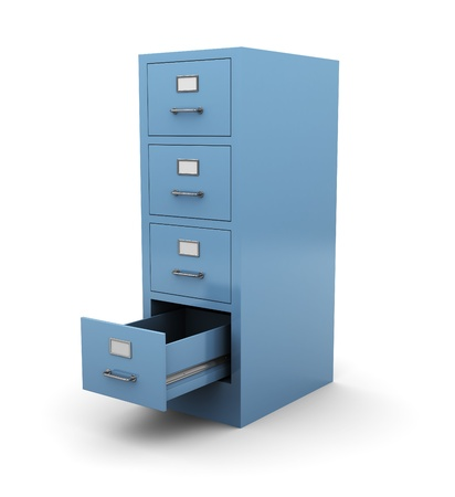 file cabinet: 3d illustration of opened drawer over white background