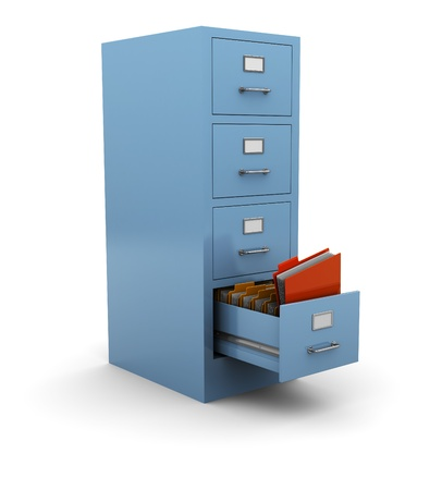 file box: 3d illustration of searching folder in drawer Stock Photo