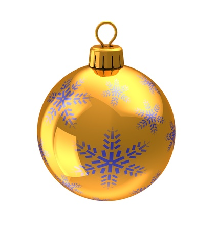 3d illustration of christmas ball, golden yellow color with blue snowflakes ornament, isolated over white background illustration