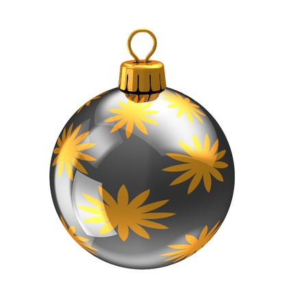 3d illustration of christmas ball,black color,with golden abstract ornament. isolated over white background illustration