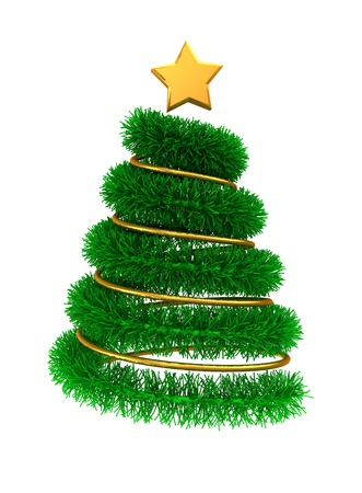 brigt: 3d illustration of christmas tree with golden decorations