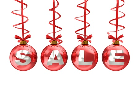 3d illustration of christmas balls with sale sign, isolated over white backgroun Stock Illustration - 11413784