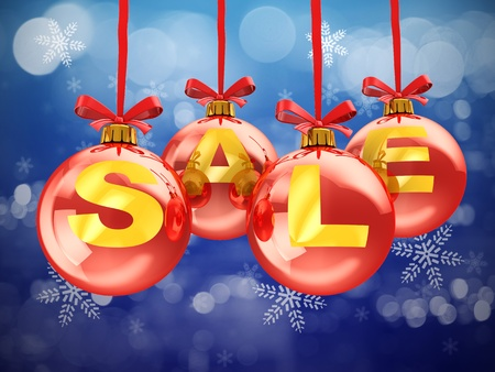 3d illustration of christmas sale sign, over snowflakes background Stock Illustration - 11413795