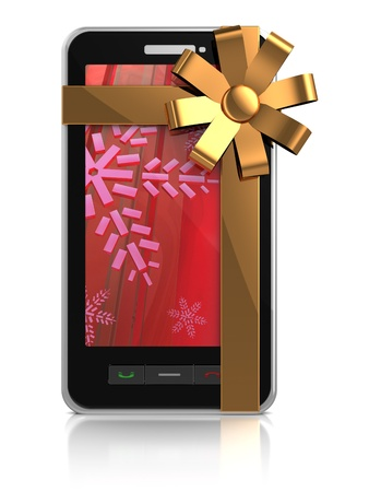 3d illustration of mobile phone with golden ribbon - christmas gift illustration