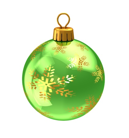 3d illustration of christmas ball,green color,with golden snowflakes ornament. isolated over white background illustration