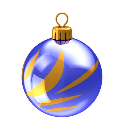 3d illustration of christmas ball,blue color,with golden abstract ornament. isolated over white background illustration