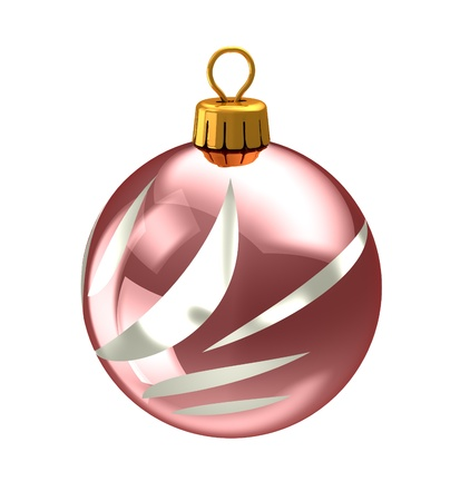 3d illustration of christmas ball,red color,with silver abstract ornament. isolated over white background illustration