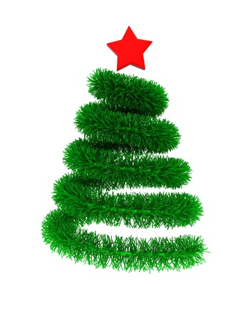 3d illustration of christmas tree with red star illustration