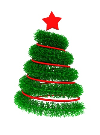 brigt: abstract 3d illustration of decorated christmas tree, isolated over white background Stock Photo