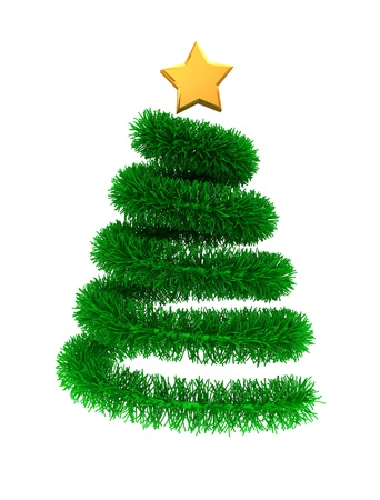 3d illustration of green christmas tree with golden star illustration