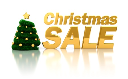 large ball: 3d illustration of text Christmas sale with xmas tree, over white background