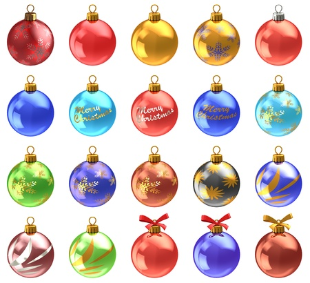 3d illustration of christmas balls set, isolated over white, many colors and ornaments.  illustration