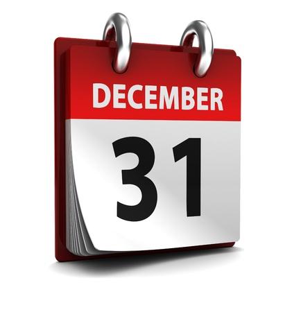 calendario diciembre: 3d ilustración de calendario con 31 inaugurarse en diciembre de página Foto de archivo
