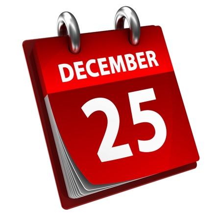 almanak: 3d illustratie van kalender met kerst datum pagina open