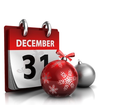 3d illustration of christmas background with calendar and xmas balls Stock Illustration - 11788024