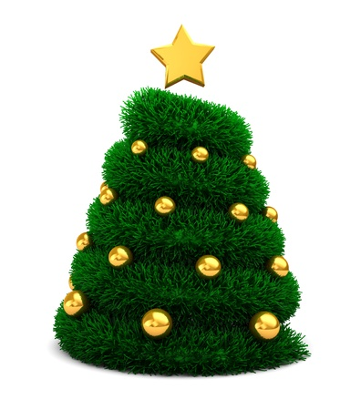 fur tree ornament: abstract 3d illustration of green christmas tree, decorated with balls and star