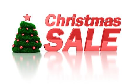 huge christmas tree: abstract 3d illustration of christmas sale symbol