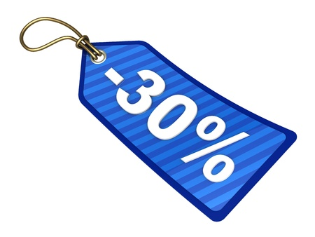 thirty: 3d illustration of blue sale tag with 30 percent discount label
